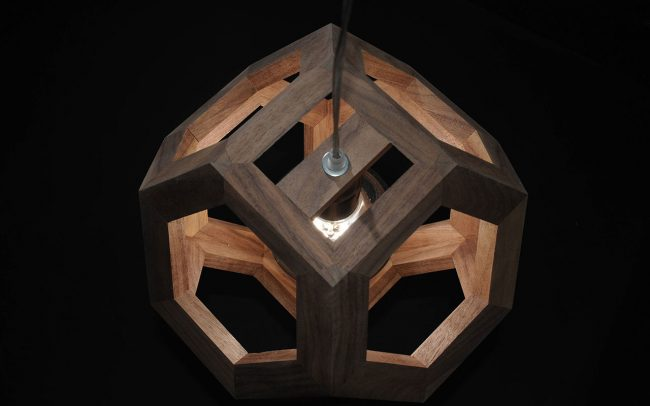 Lampada in legno GANIMEDE ottaedro troncato - Fulcro Firenze
