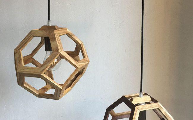 Lampada in legno GANIMEDE DOUBLE ottaedro troncato - Fulcro Firenze