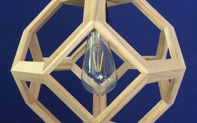 Lampada in legno GANIMEDE LIGHT ottaedro troncato - Fulcro Firenze