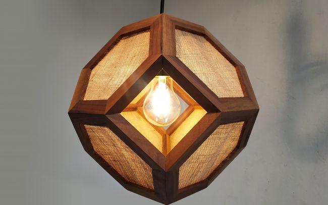 Lampada in legno GANIMEDE GOLD ottaedro troncato - Fulcro Firenze