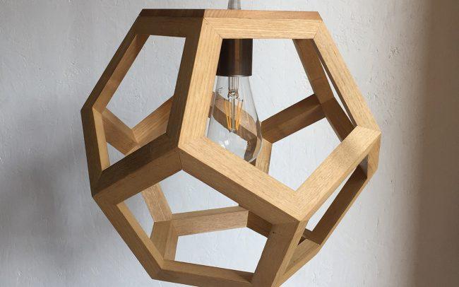 Lampada in legno ALBIORIX solido platonico - Fulcro Firenze