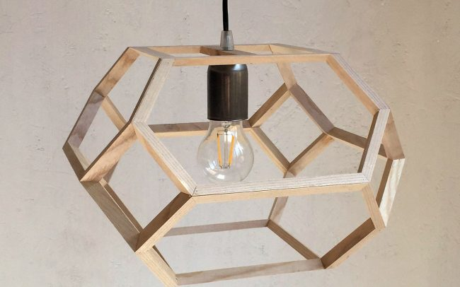 Lampada in legno PRAXIDIKE ottaedro troncato allungato - Fulcro Firenze