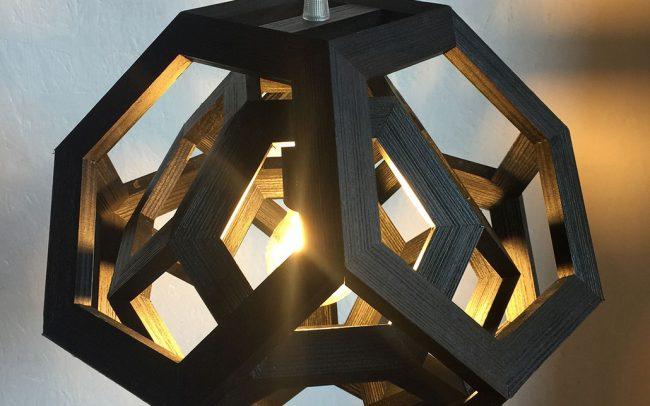 Lampada in legno TRAPPED doppio ottaedro troncato - Fulcro Firenze