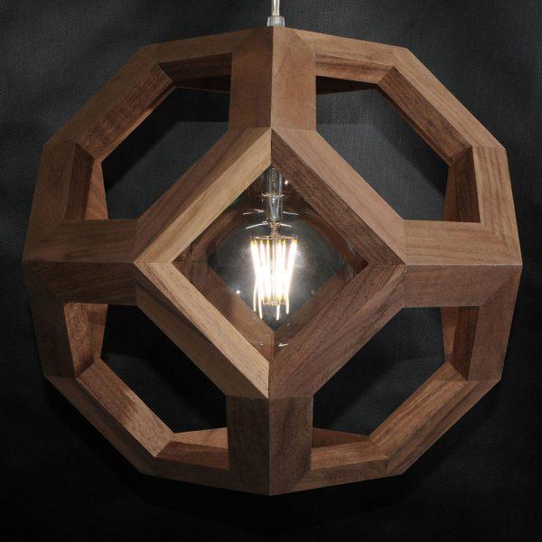 Ganimede Truncated Octahedron wood pendant lamp