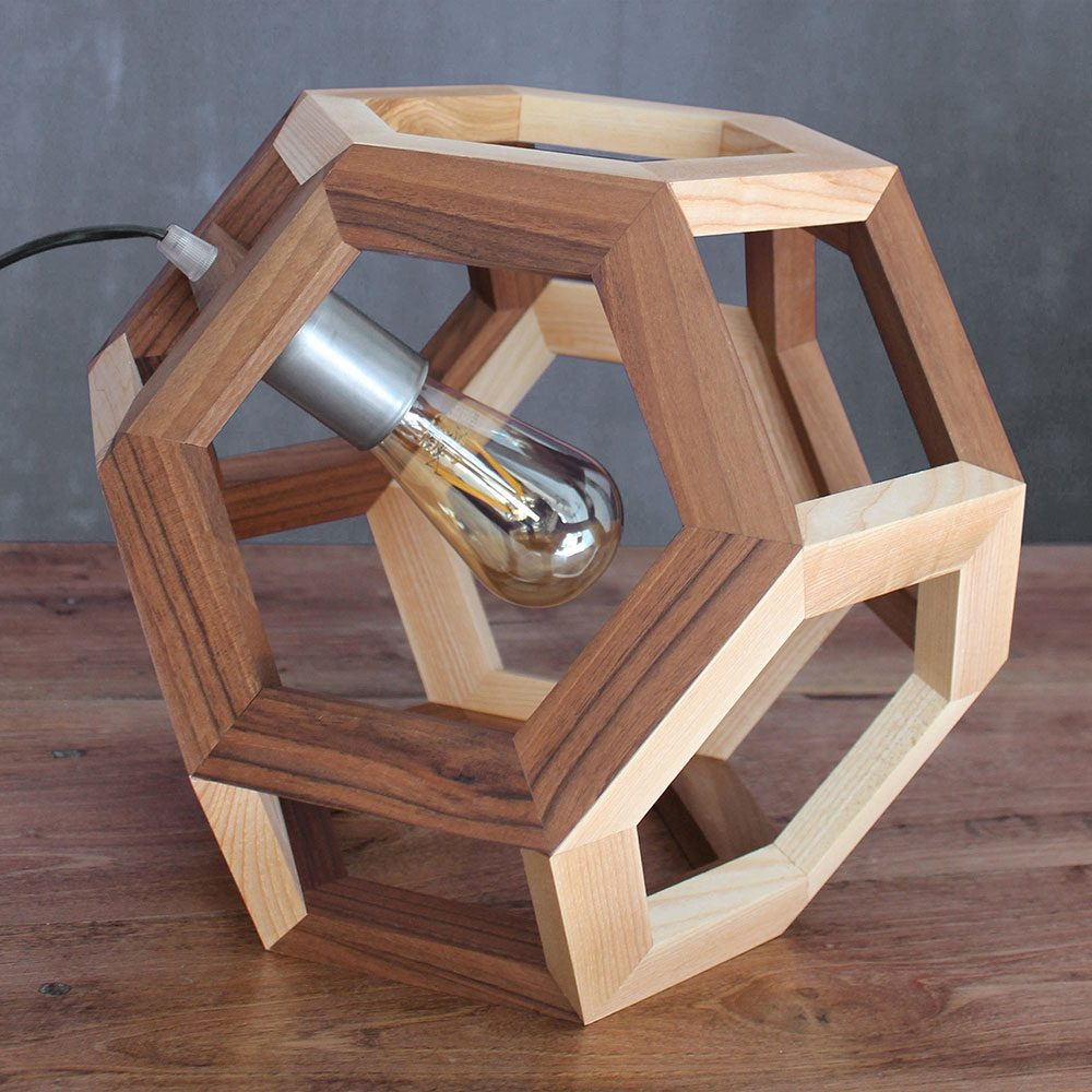 truncated octahedron wood pendant lamp