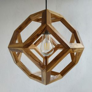 Ganimede Truncated Octahedron wood pendant lamp