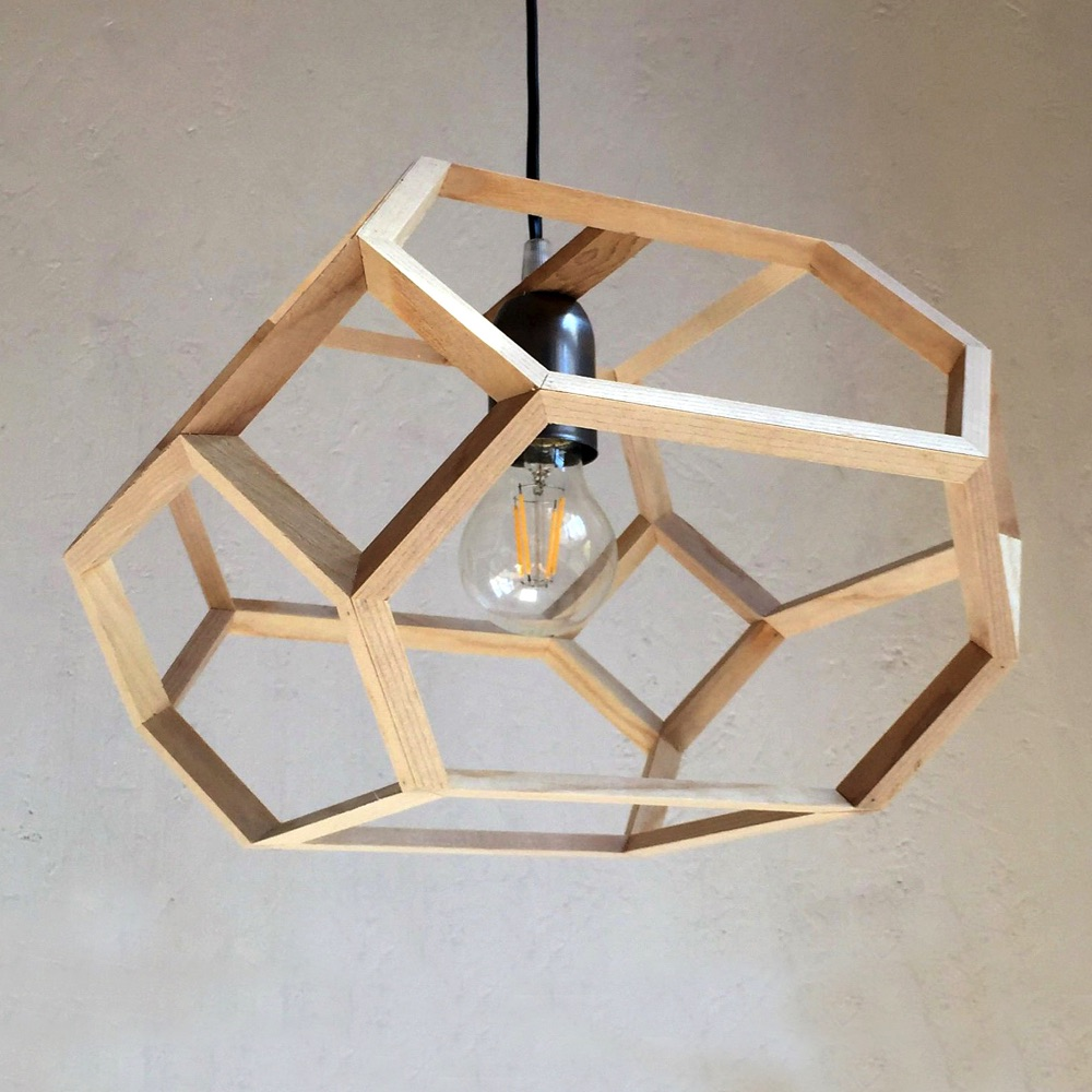 elongated truncated octahedron pendant lamp