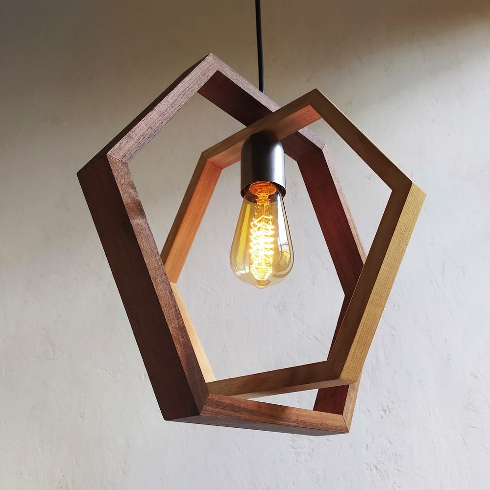 Dafni Hexagonal wood pendant lamp
