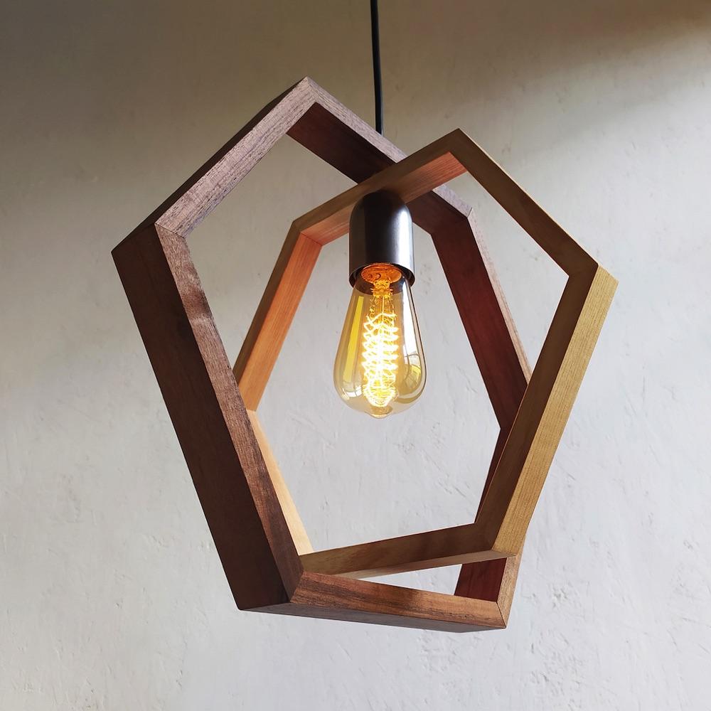 Dafni Hexagonal wood pendant lamp