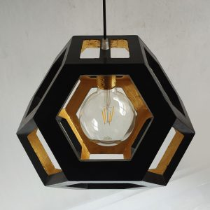 Ganimede Black and Gold truncated octahedron pendant lamp