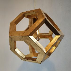 Ganimede Gold truncated octahedron pendant lamp