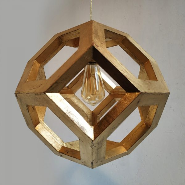 Ganimede Gold truncated octahedron pendant lamp