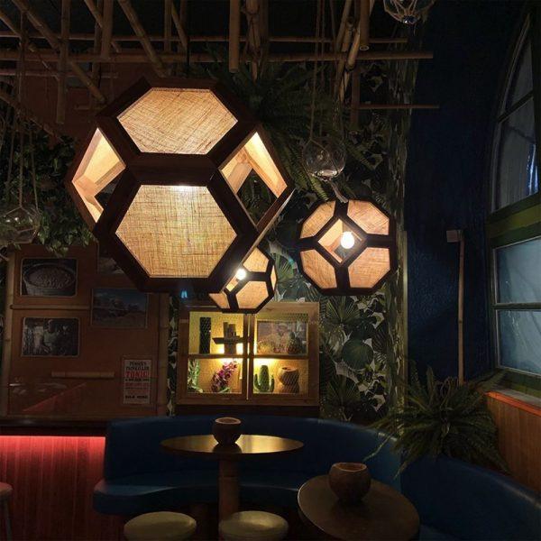 Ganimede Jute truncated octahedron pendant lamp