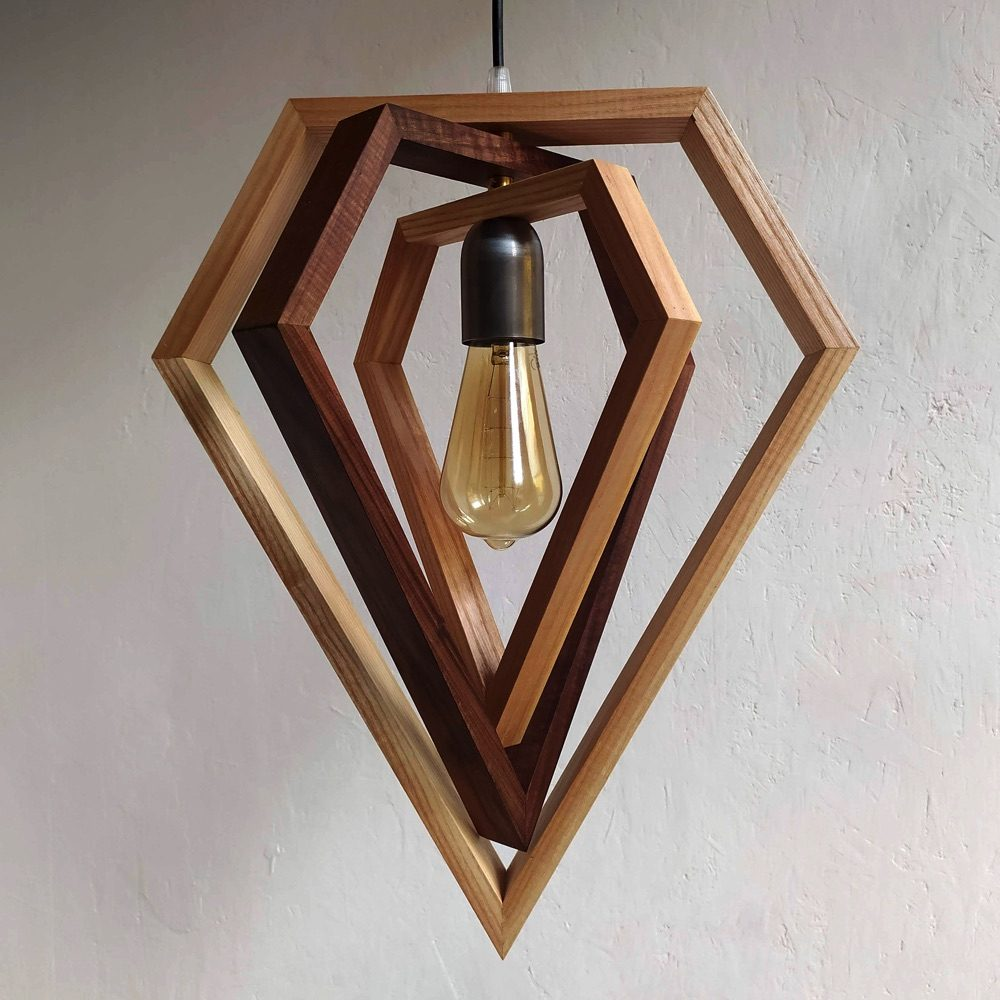 Giano triple diamond pendant lamp