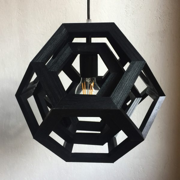 Trapped double truncated octahedron pendant lamp